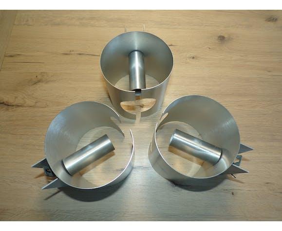 Set 3 appliques feuille métal 1970