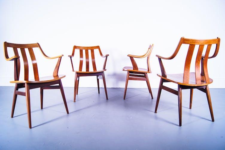 Set de 4 fauteuils en bois plié en teck