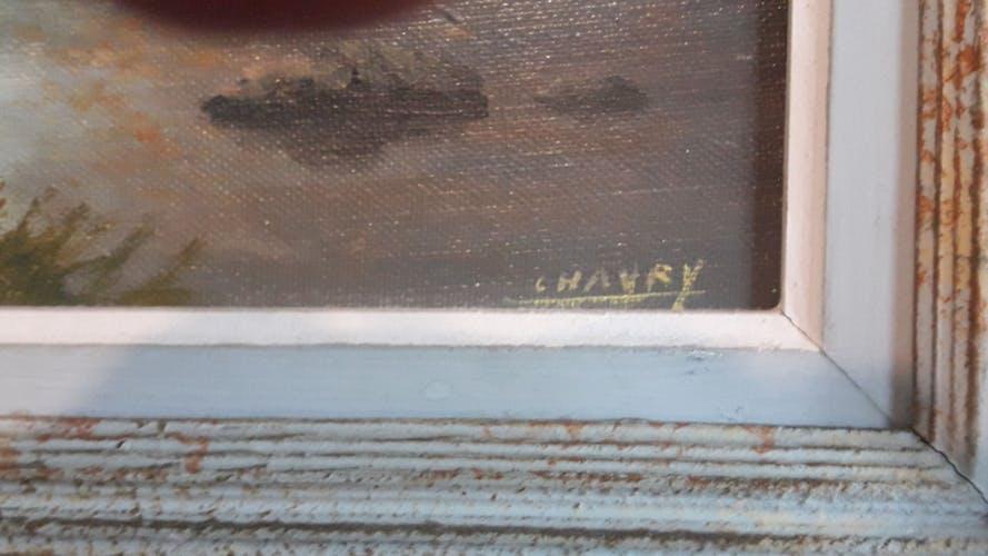 Paysage de rivière huile sur toile de 1932 signée par Chaury