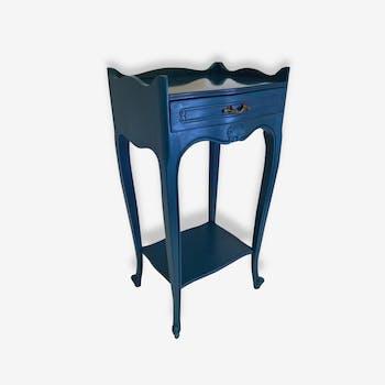 Petite table de  chevet bleu canard patinée