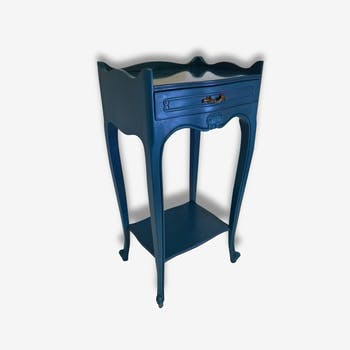 Small blue duck bedside table patinated