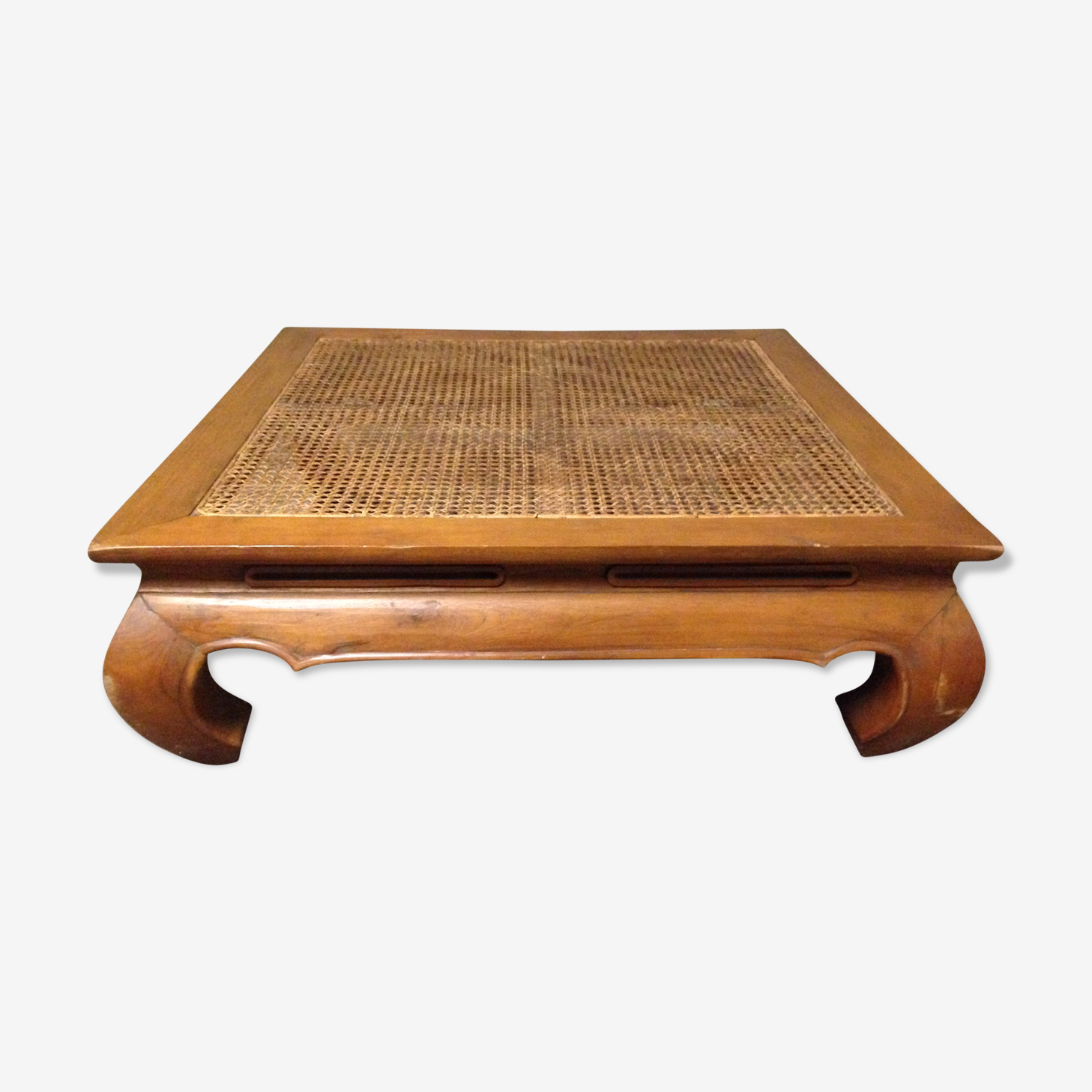 Table basse opium canage et bois