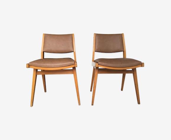 Paire de chaises modernistes bois et similicuir marron - vintage - 1960