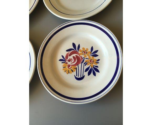 4 assiettes plates en faïence thème bleu