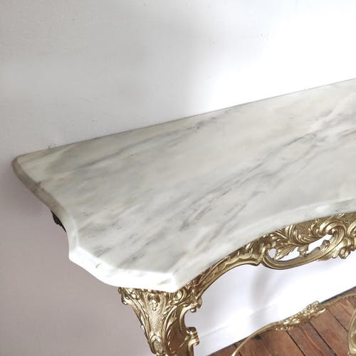 Console murale italienne laiton marbre
