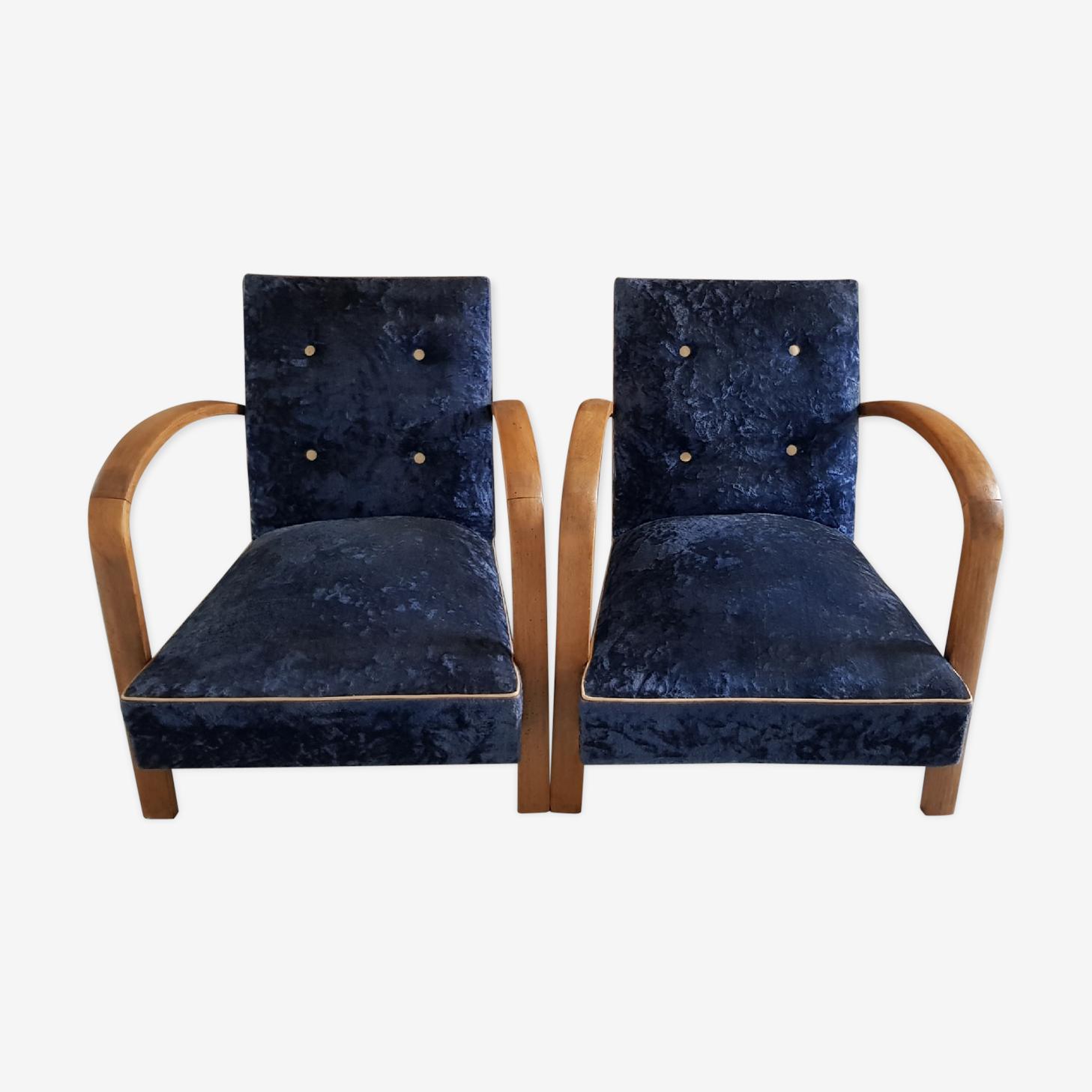 Paire de fauteuils bois et velours