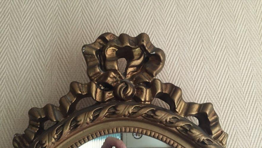 Gold wood mirror