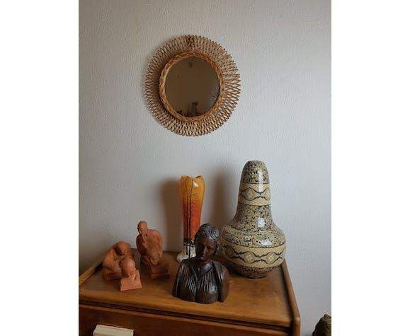 Miroir rond tressage rotin vintage - 47 cm