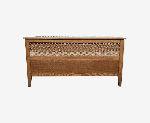 Coffre à jouet banc vintage 1960 en chêne dorée