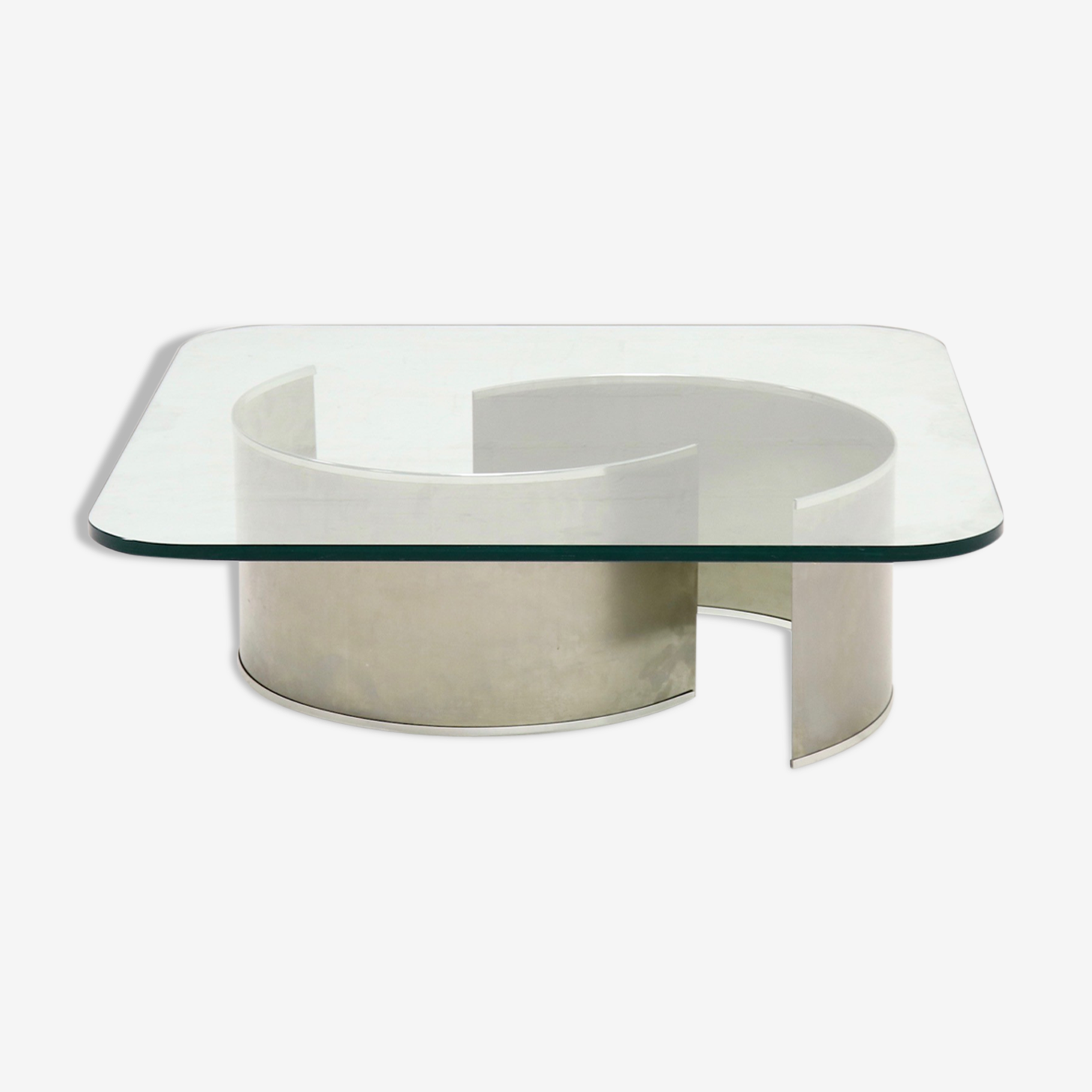 Luxury stainless steel and glass french coffee table 1970