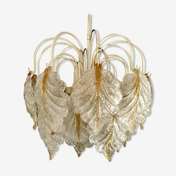 Mazzega chandelier two-tone leaves