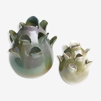 """Vases en céramique """" Artichaut """" signé Kostanda Vallauris, années 70"""