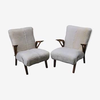 Paire de fauteuils scandinaves retapissés