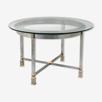 Brushed and gilded metal table, glass tray, 1970s
