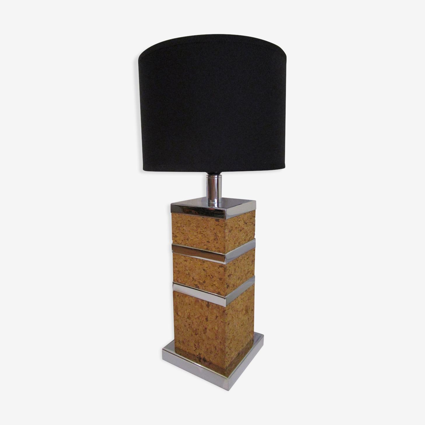 Lampe liège et chrome années 70