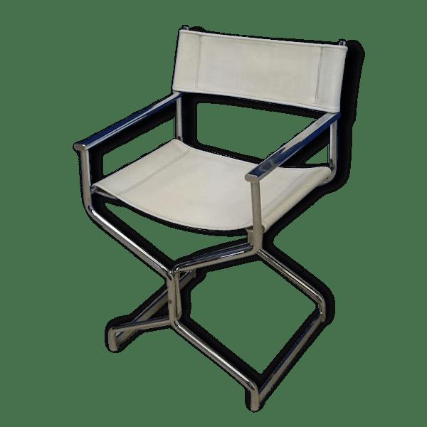 chaise fauteuil vintage metteur en sc ne inox cuir blanc fer vintage 82323. Black Bedroom Furniture Sets. Home Design Ideas