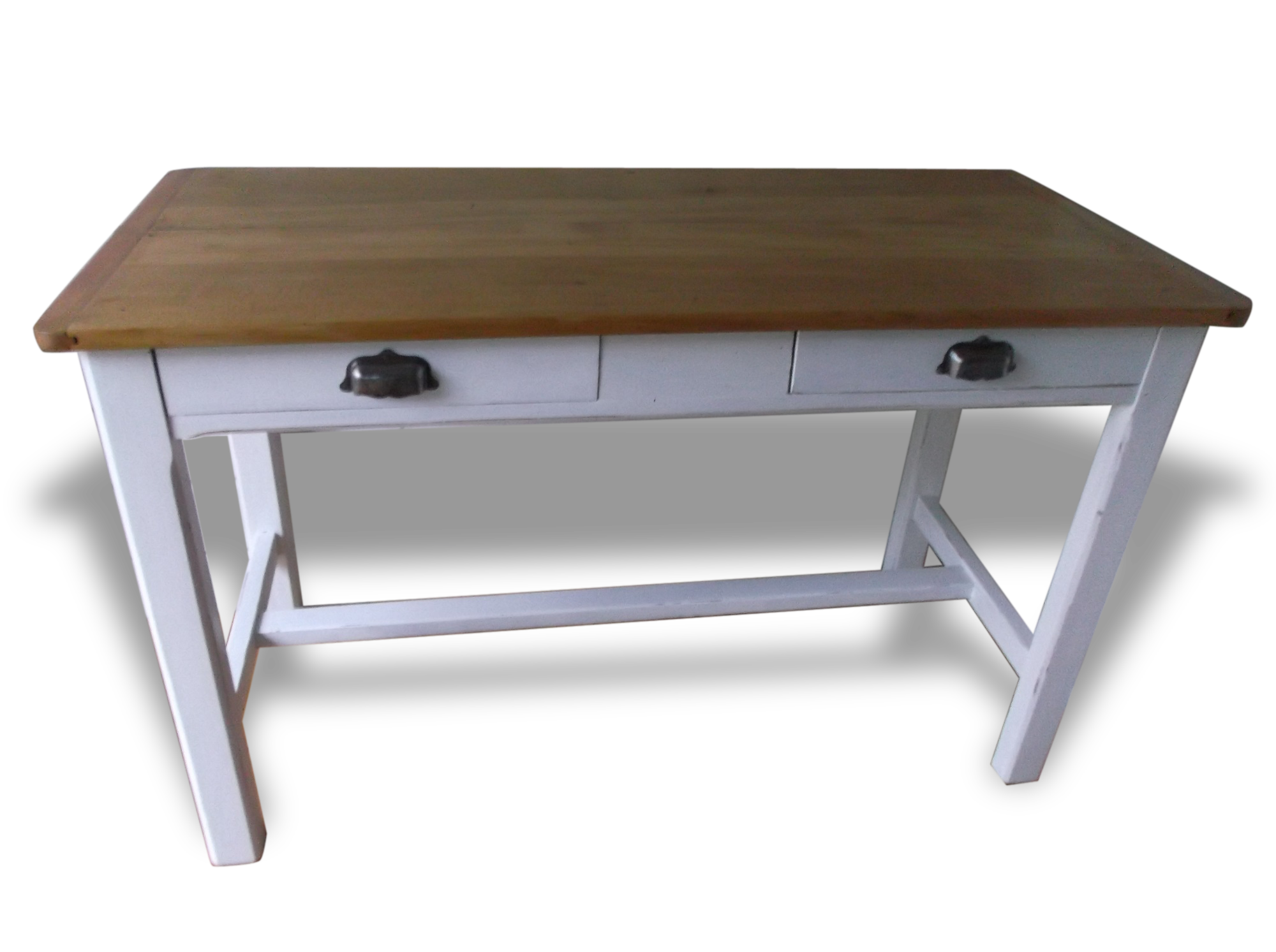 Table bureau de ferme ancienne bois matériau blanc