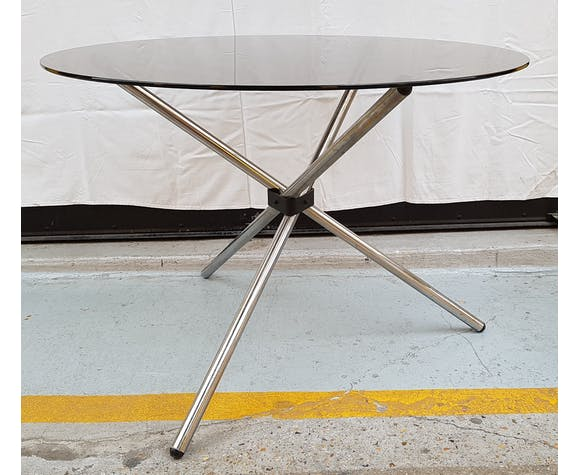 Table Design Salle A Manger Verre Fume Et Chrome Selency