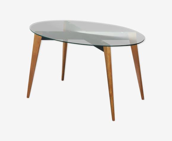 Table basse ovale en bois et en verre