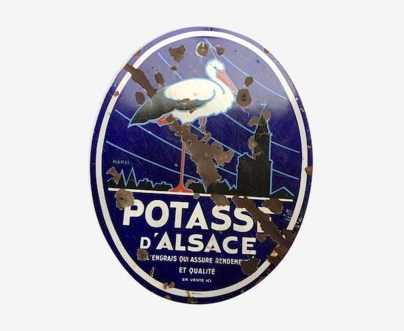 """Plaque émaillée """" Potasse d'Alsace """" Hansi, Émaillerie du Rhône"""