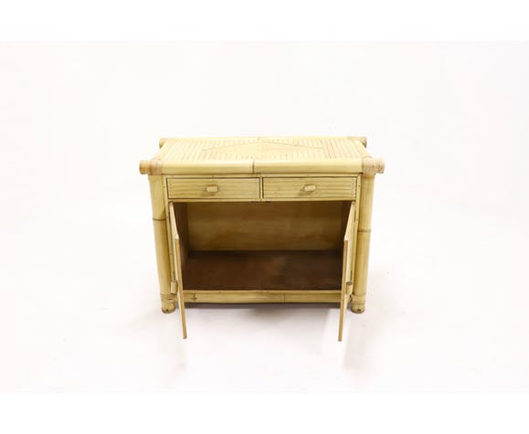 Mid Century Rattan and Bamboo Sideboard 1970s