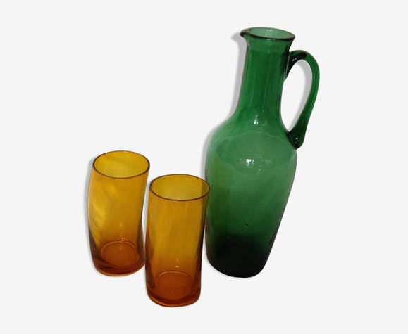 Pitcher and two glasses