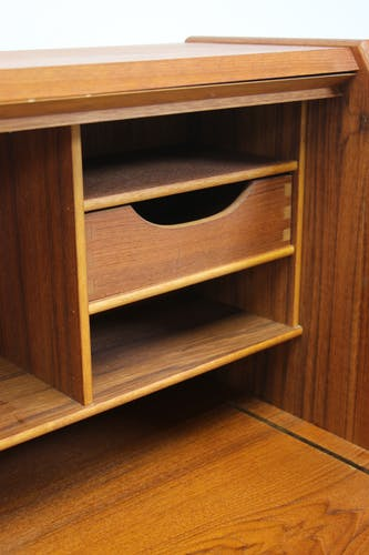 Teak secretaire desk with flap and 5 drawers