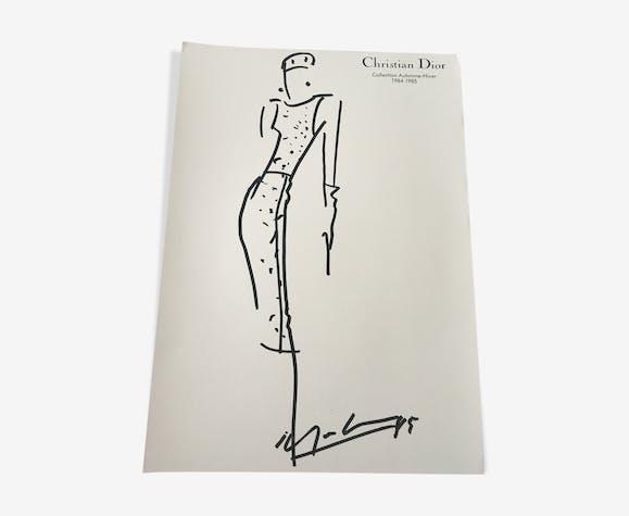 Esquisse de mode Christian Dior 1984-1985 et photographie de presse