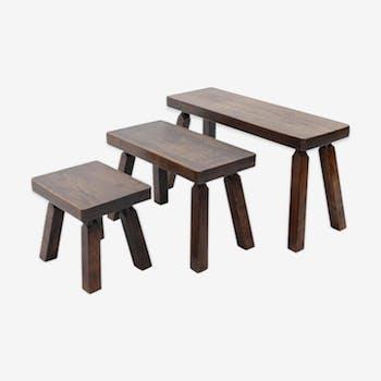 Set of Solid Oak Nesting Tables, 1970s