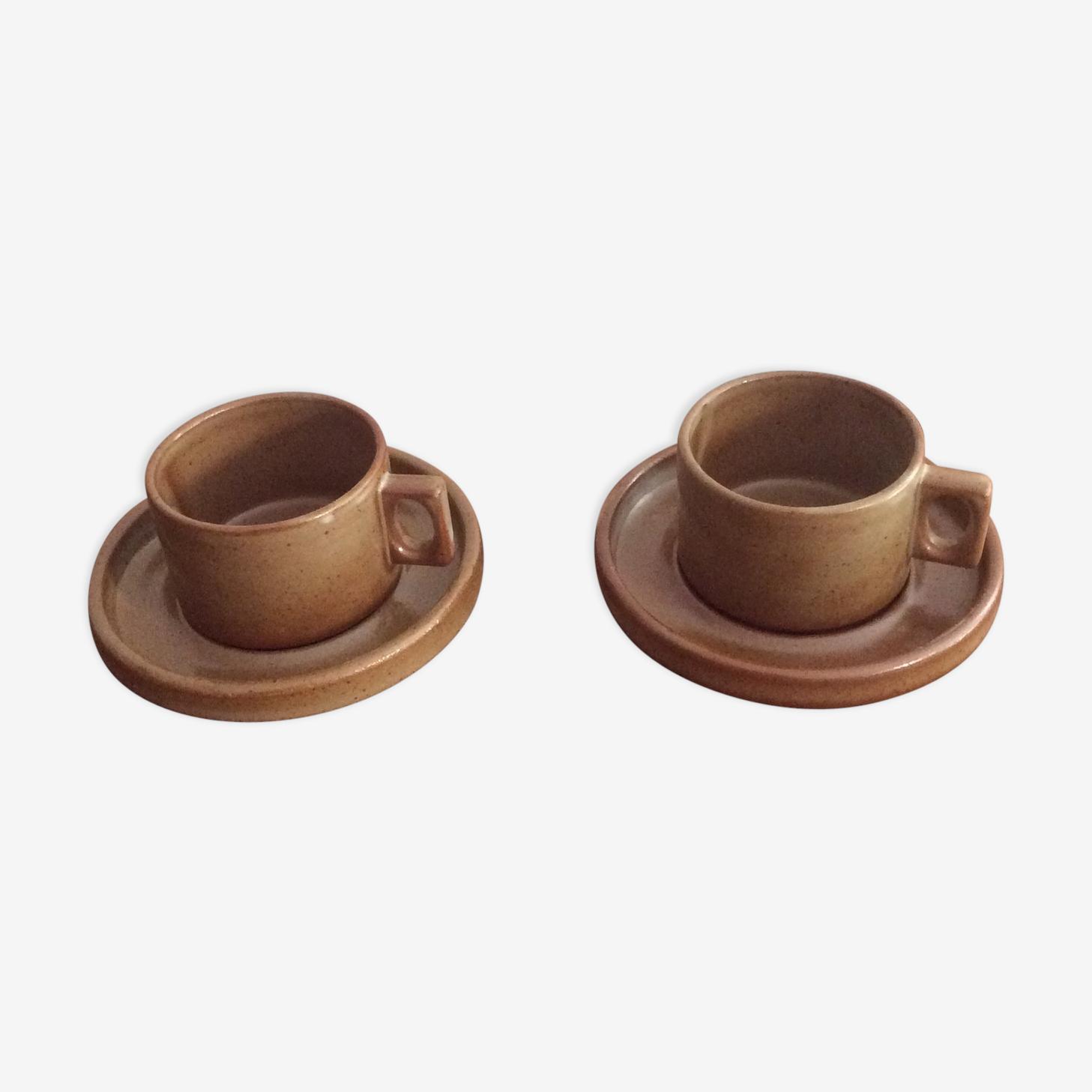Deux tasses et sous-tasses grès de Brenne