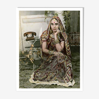 Woman on phone photography portrait painted Rajasthan 60s