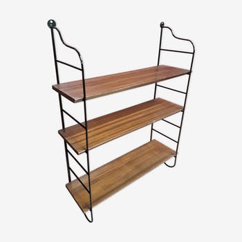 Etagere scandinavian 1940 has 50 Tomado steel and 3 trays plate wood bisauté wood 60x86
