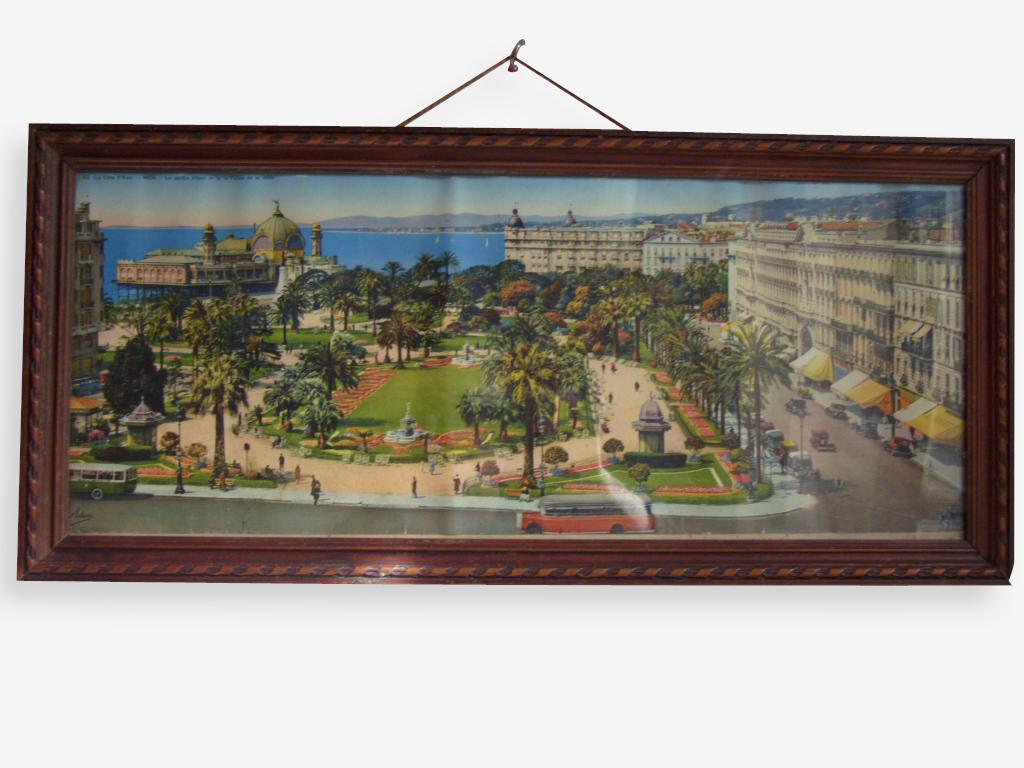 """Tableau """"chromo photo  panoramique colorisée"""" vue Nice"""
