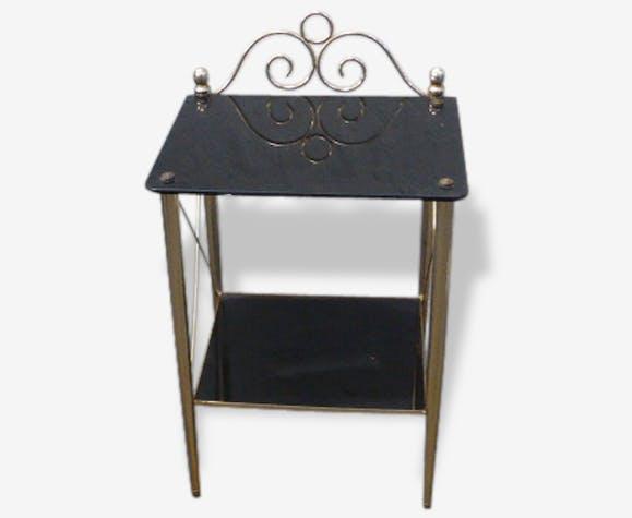 Table de metal doré noir et verre en plateau en chevet iOkXuTZP