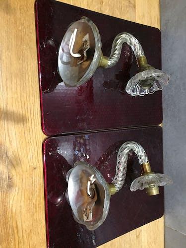 Paire d'appliques en verre et métal doré années 50
