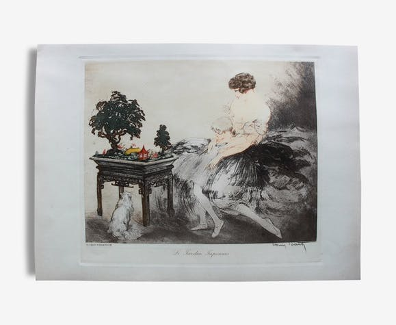 ad2abdf1ee7 Le Jardin Japonais estampe aquatinte 1932 - papier - blanc - art ...