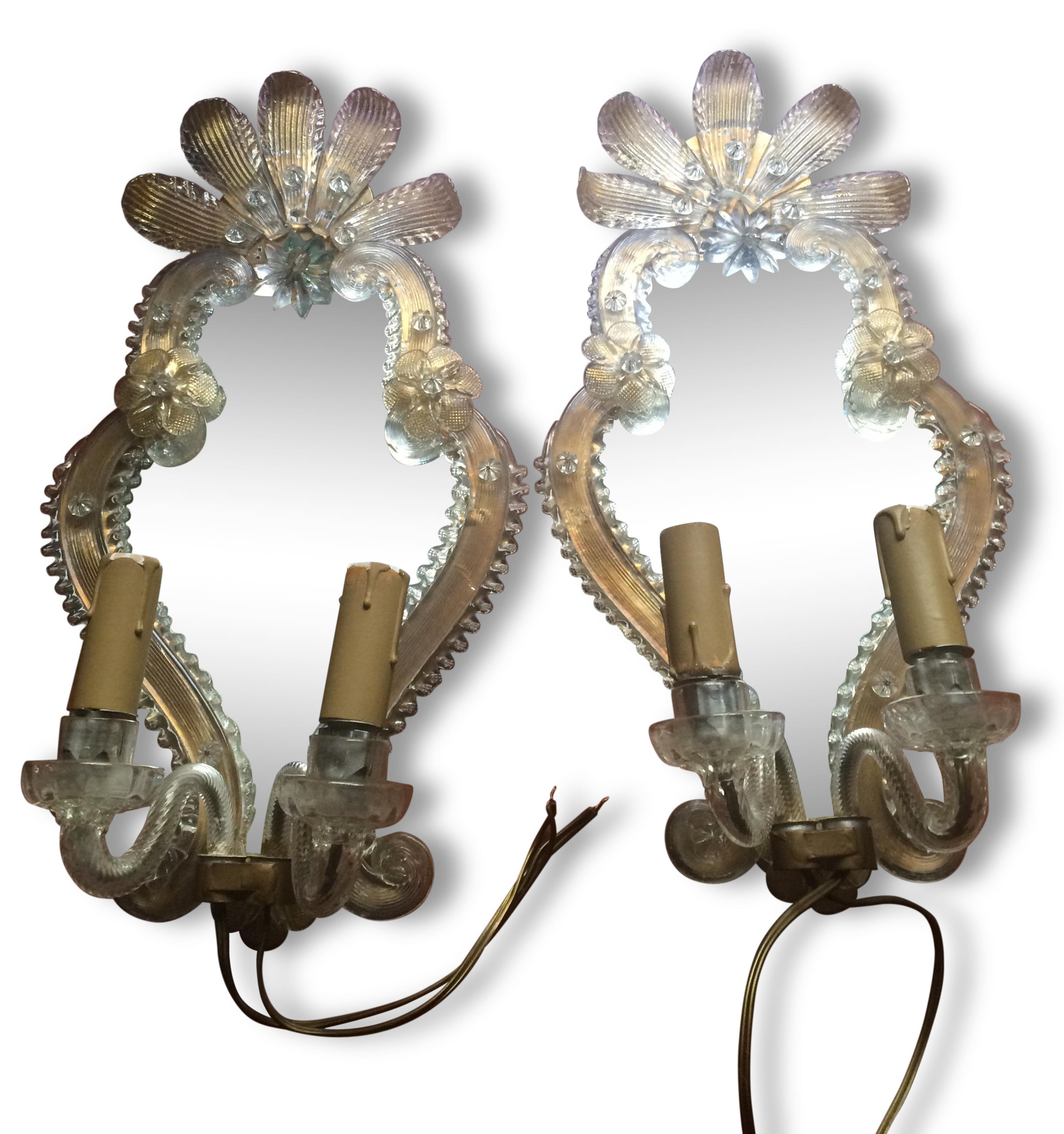 Paire d appliqués murano incrustation or glass and crystal