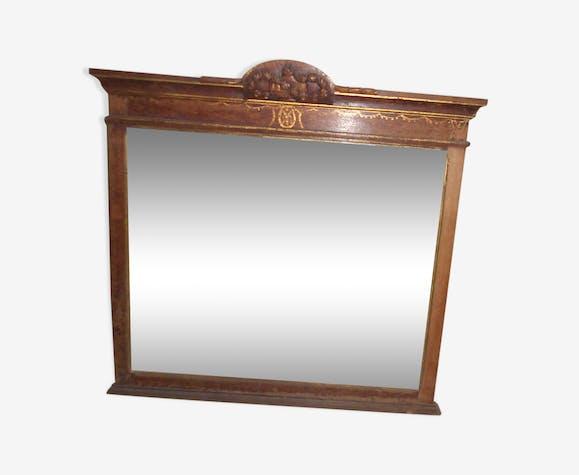 Miroir bois ancien armoiries biseautées cadre sculpté 102,5x105,5cm