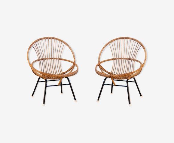 Paire de fauteuils coquilles rotin et métal noir