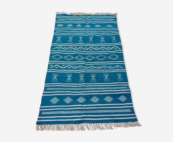 Tapis bleu et blanc fait à la main 115x185cm
