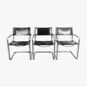 Ensemble de 6 fauteuils en cuir noir
