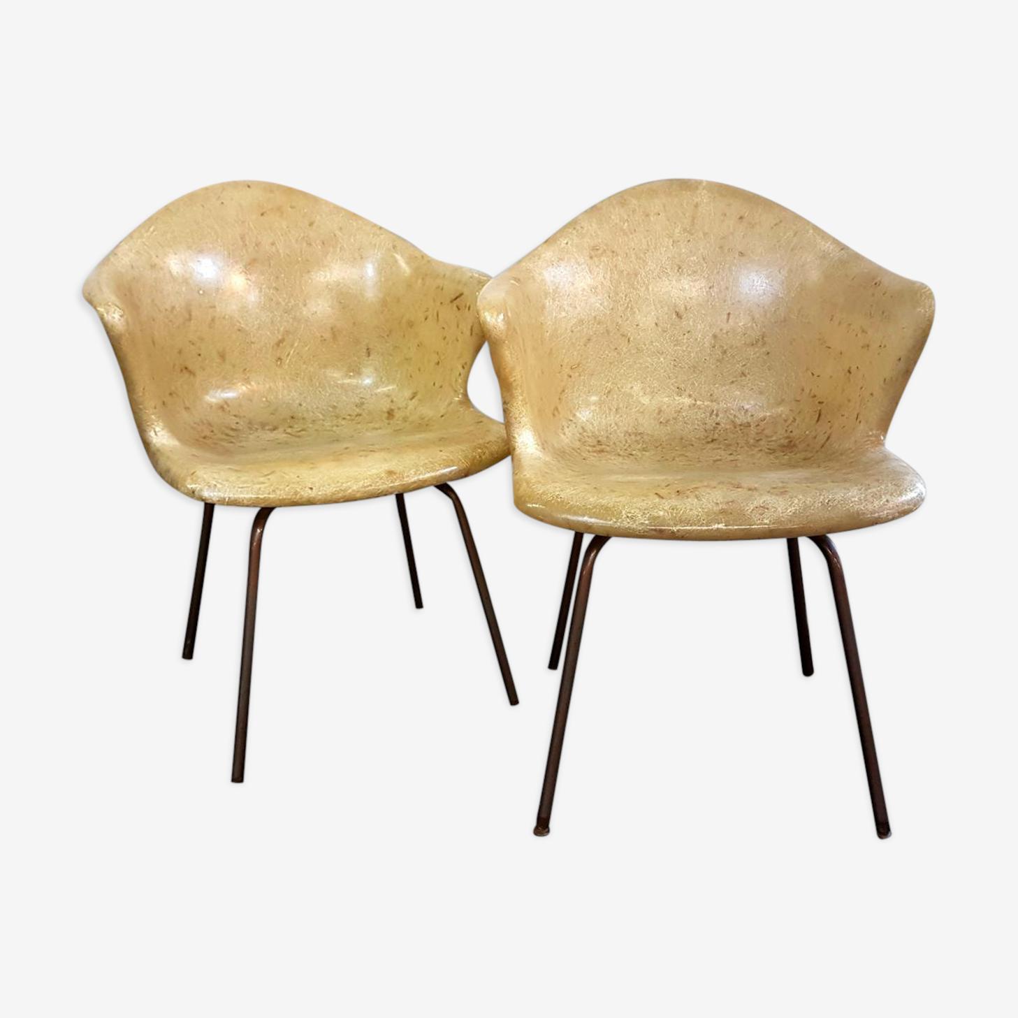 2 fauteuils en fibres de verre de douglas années 50