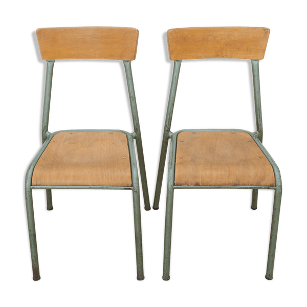Pair Of Stella School Chairs In Wood And Metal From The Year 1960 Wooden Vintage Yxckd5o