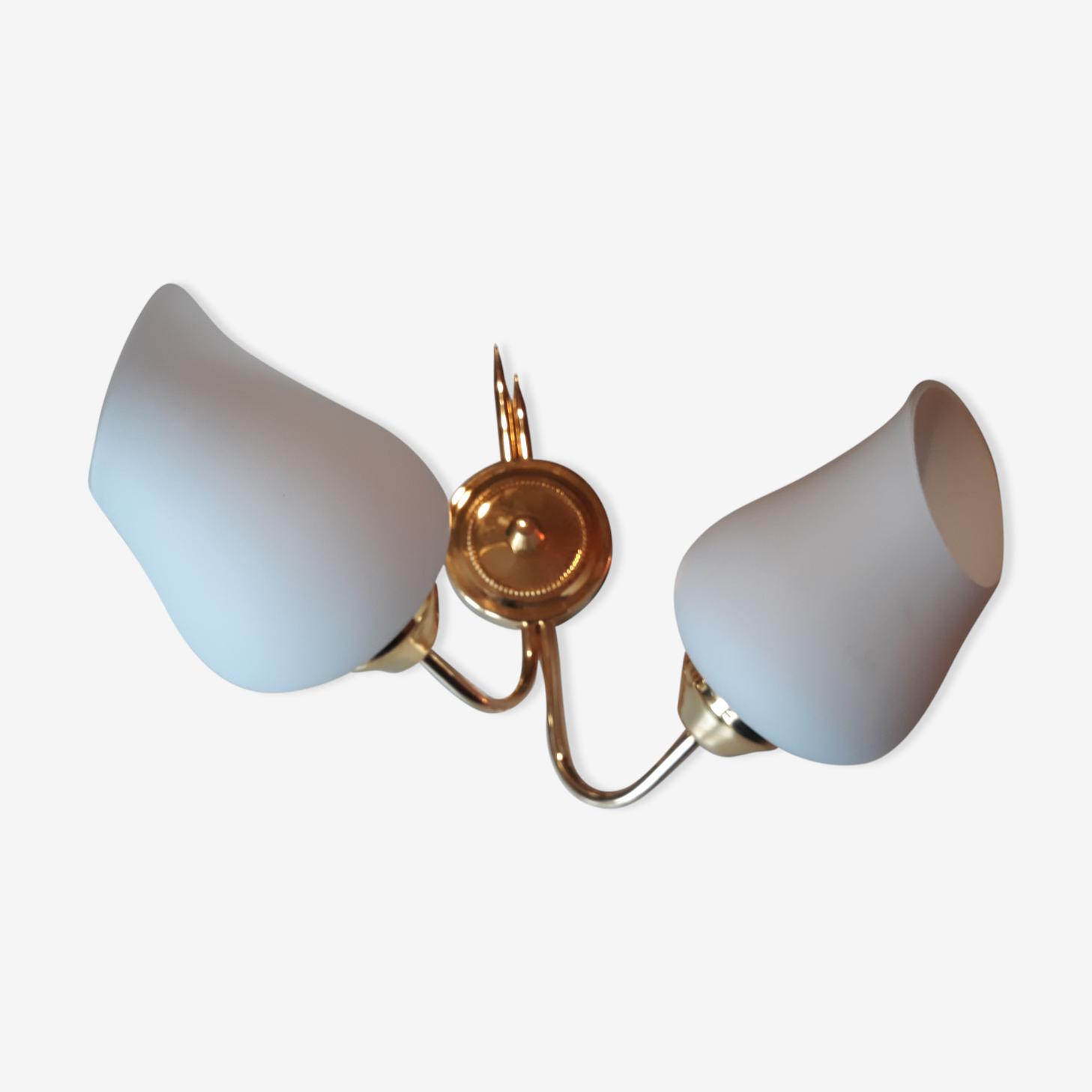 Applique double en métal doré et opaline années 60