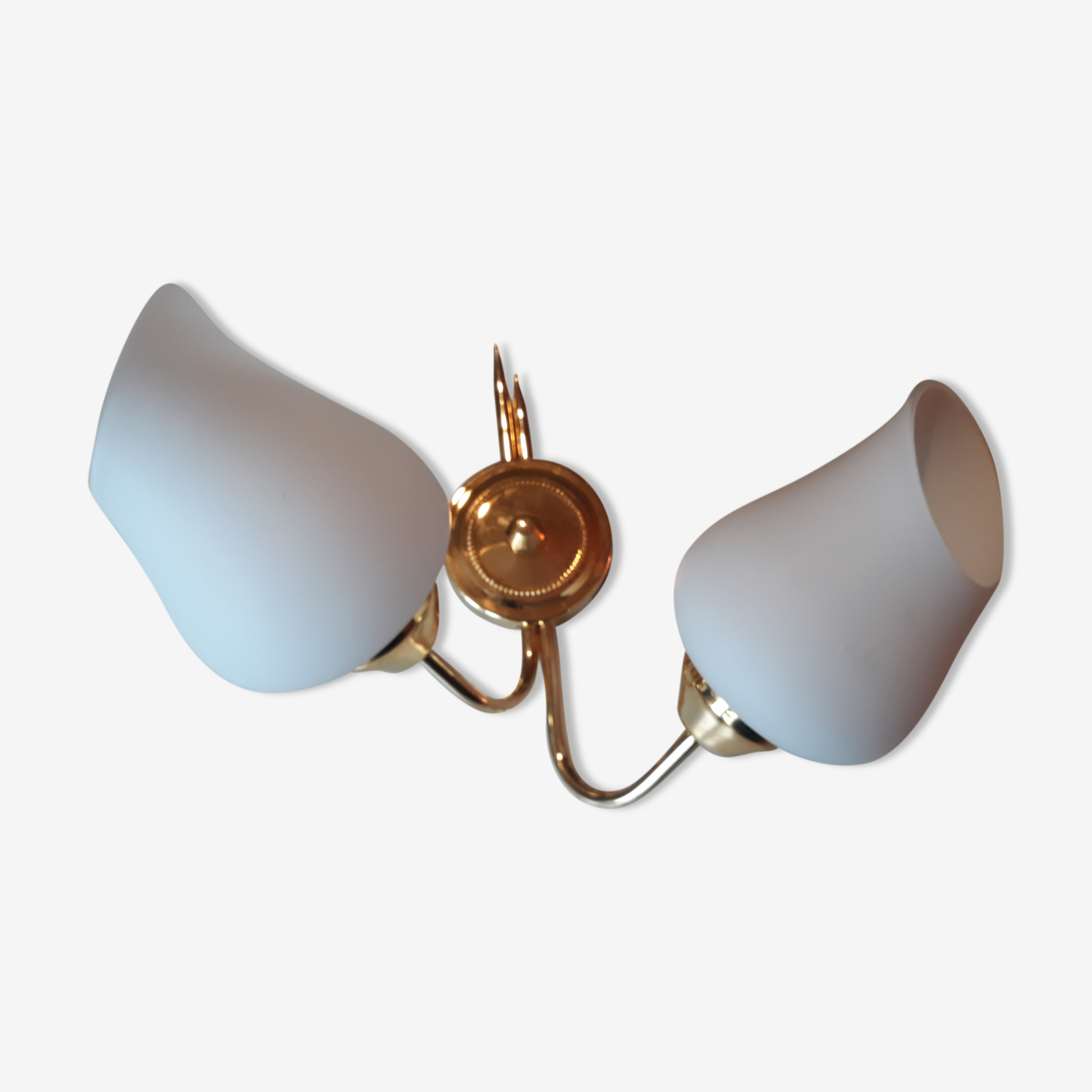 Double wall light gold metal and opaline 60s