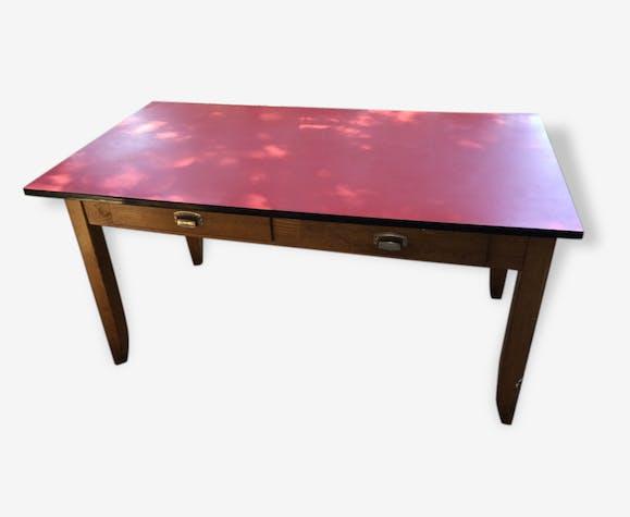Grande table en bois et plateau Formica rouge - formica - red ...
