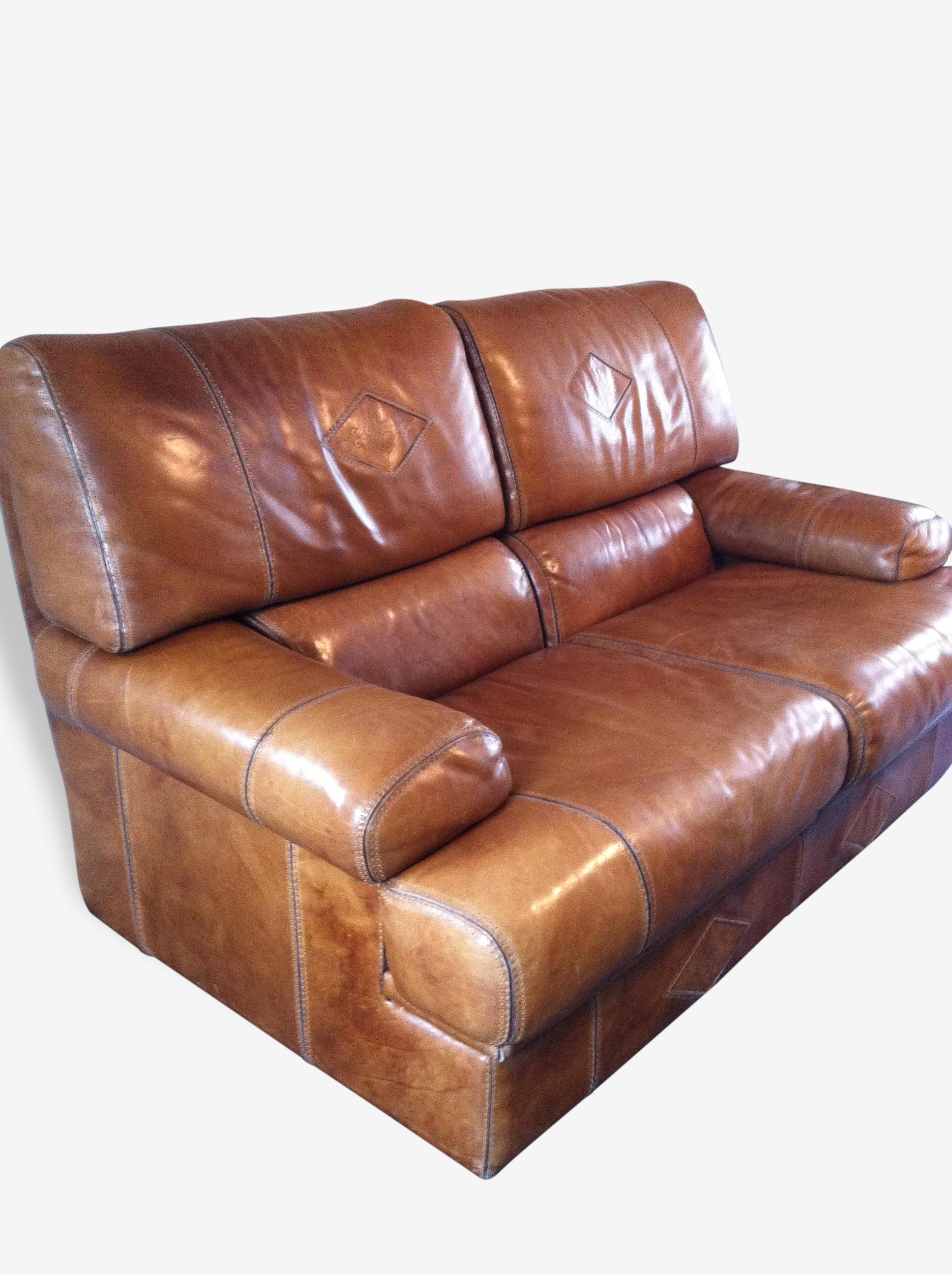 Canapé cuir marron glacé clair cuir marron vintage