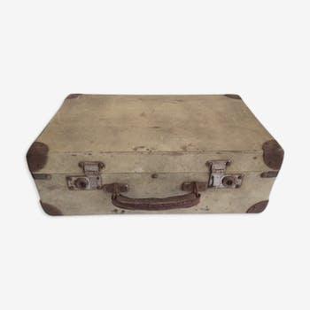 Valise vintage en bois blanc écru /beige