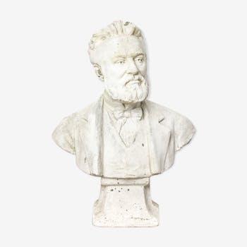 """Buste en plâtre antique """"Pasteur"""""""