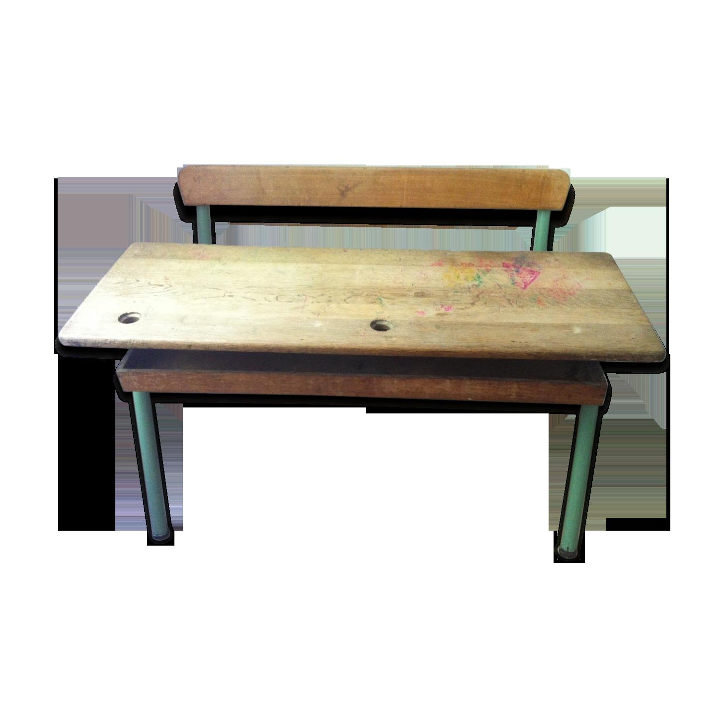 Double pupitre bureau écolier vintage bois pieds métal vert